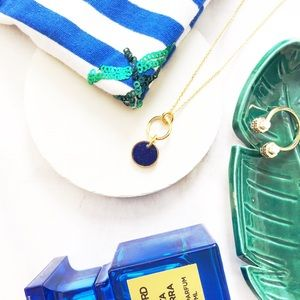 J. Crew Gold Lapis Pendant Necklace